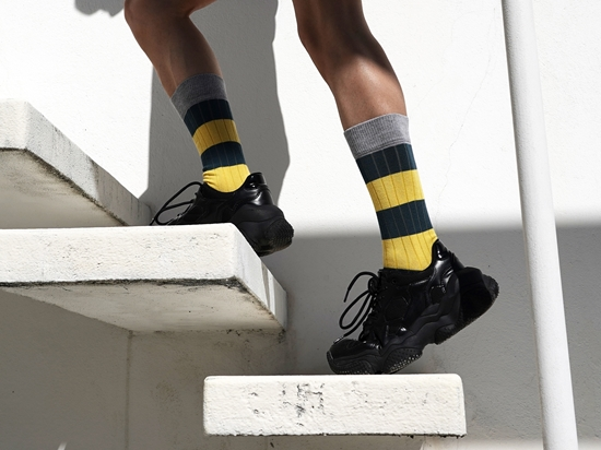 Picture of STRIPES CANALÉ PETROL BLUE/YELLOW